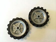 lot of 2 K'Nex 2 1/2 tires with grey pulley inserts- replacement parts-comb ship