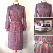 Vintage 1930s 1940s Style Polliwool Red Graphic Patterned Day Dress Size 12 14