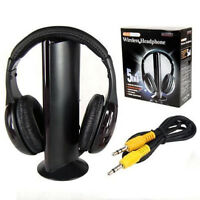 1Wireless RF Headphone 5 in 1 Headset Stereo Earphone With Mic For PC TV DVD MP3