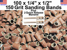 """100 - 150 Grit 1/4"""" Sanding Drums Bands w/2 3/32"""" Mandrel DRILL BITS ROTARY TOOL"""