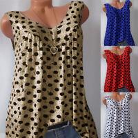 Plus Size Womens Polka Dot Vest Sleeveless Summer Casual Tank Tops Shirts Tee
