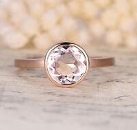 Round Cut 8x8mm Morganite 14K Rose Gold Engagement Wedding Ring Bezel Set