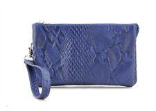 Genuine Leather Wristlet Wallet Travel Clutch W/ Zipper Money Compartment Blue