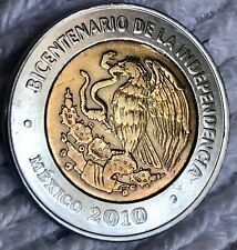 2010  MEXICO  $5 PESOS MINT ERROR  2 EAGLES   ERROR ! BIMETAL