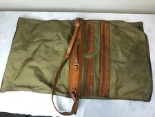 Hartmann Luggage - Brown Nylon, Leather Trim Hanging Bag with Strap