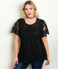 "NEW..Lovely Stylish Plus Size Black Lined Lace ""After 5"" Top.Sz16/1XL"