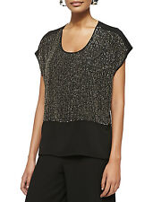 NWT Eileen Fisher Womens Black Sequined Rivulet on Silk Crepe De Chine Top Sz PM