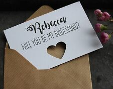 4 PERSONALISED WILL YOU BE MY BRIDESMAID & 1 MAID OF HONOUR CARDS-5 per Set