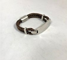 Mens Dark Brown Leather Bracelet Multi Braided Strand Stainless Steel Clasp