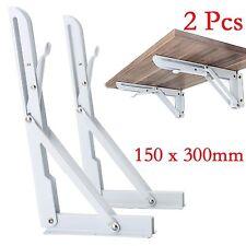 2x White Wall Mounted Metal Folding Triangle Angle Shelf Support Bracket Racking