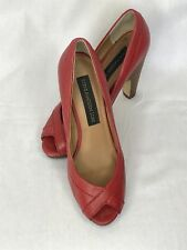 Steve Madden Luxe Red Leather Peep Toe Shoe Size 6.5