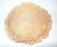 """Vintage Pink Flower Lace with a Crochet Border 14"""" Round Pillow"""