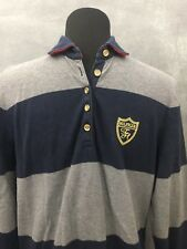 Tommy Hilfiger Crest Long Sleeve Polo Gold Button Gray/ Navy Stripe XL