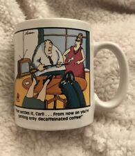"Vintage The Far Side Coffee Mug by Gary Larson 1980 ""Decaffeinated Coffee"""