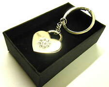Chrome Diamonite Heart Keying Key Chain Gift Boxed