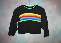 Vintage Utility Rainbow Knit Sweater Kid's Size X-Small Long Sleeve USA Made XS