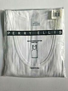 Vintage 80s PERRY ELLIS Mens Wht Cotton Tank Top Underwear L Deadstock NOS  1989