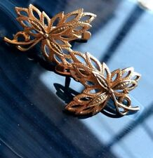 Russian Vintage Rose and Yellow Gold Leaf Earring 583 14K USSR Jewelry