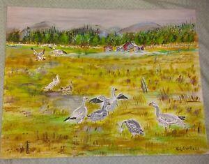 American Folk Art DUCKS Oil on Board Painting 1960's PA Estate 24x18 signed