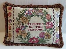 """Tapestry Pillow Flowers of the Seasons with fringe edging 17"""" x 12"""" Embroidered"""