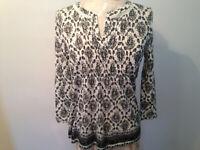 Ivory Black LUCKY BRAND Cotton Silk Blend Womens 3/4 Sleeve Top Size XS