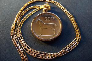 "1988 IRISH PONY STALLION HORSE COIN PENDANT + 20"" 18K Gold Filled Figaro Chain"