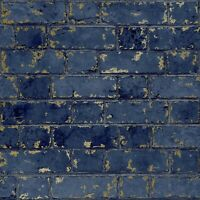 Dark Navy Midnight Blue Metallic Gold Brick Stone Feature Rustic Wallpaper 3D