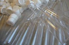 "100 Count 5/8"" x 4"" Plastic Bead Tube Storage Containers With White Caps, New"