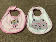 Lot of 2 Girl Sandy & Simon Bibs - White and Pink Cat With Glasses / Pink Monkey