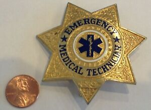 Vintage EMT Emergency Medical Technician BADGE used RARE e.m.t.