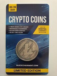 Litecoin Antiqued 1oz 999 Silver Bullion Coin with Card ERROR 2020 Crypto Series