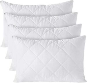 QUILTED PILLOW PROTECTORS 100% COTTON ZIPPED PILLOWS COVERS PACK OF 4 PILLOWCASE