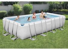 "New listing Bestway Power Steel 18'x9'x48"" Rectangular Metal Frame Family Swimming Pool Set"