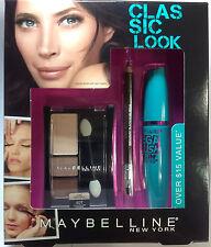 Maybelline Classic Look Mega Plush Mascara + Eyeliner + Eyeshadow SET New.