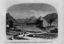 Stampa antica Old Print TALLOIRES Lago d' Annecy Alta Savoia Francia 1860