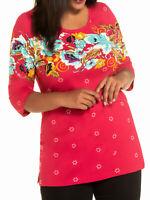 Blumen Shirt Longshirt Bluse Tunika Ulla Popken 46 48 50 52 54 56 58 60 62 64