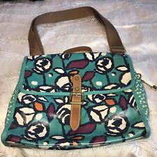 Fossil Flower Purple Turquoise Crossbody Messenger Bag Brown Strap PVC Purse