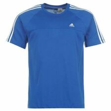 Adidas Climalite Mens 3 Stripe S/Sleeve T-Shirt Crew Neck Blue G69508 - Small