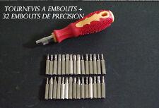 TOURNEVIS  + 32 EMBOUTS DE PRECISION TORX CRUCIFORME PLAT ETC