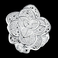 Wholesale 925Sterling Silver Jewelry Large Floor Flower Women Ring Size 8 RA116