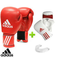 New! adidas Red Training Boxing Gloves Set! Includes Bag Gloves & Mouthguard