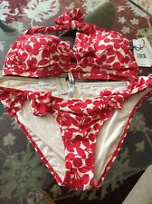 NWT Nanette Lepore Swim - Retro Cherry Print Bikini - Red - Ivory- Size Large