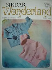 Sirdar Knitting Pattern Leaflet - CARDIGANS - 6/9 Mths in Quick Knit - VGC