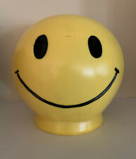 Vintage 1972 Vinyl Smiley Face Bank. yellow Happy bank! ROY Industry W/Stopper