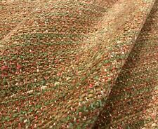 "BRUNSCHWIG & FILS RUST GREEN ""BOUCLE TEXTURE"" VARIEGATED CHENILLE FABRIC"
