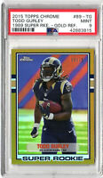 2015 Topps Chrome 1989 Super Rookie #89-TG Gold Ref 39/75 Todd Gurley PSA Mint 9
