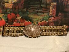 Vintage 1970'S Gold Metal Disco Belt Stretch Beautiful