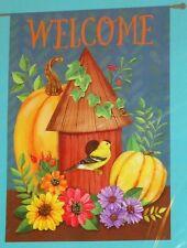"""Welcome birdhouse pumpkins Autumn decorative art garden flag New! 28"""" x 40"""""""