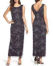 be7aee5031f68 Pisarro Nights Beaded Mesh Gown Sleeveless Dress Eggplant Size 8p