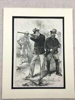 1875 Stampa Tedesca Imperatore Wilhelm I Tiro Caccia Festa Antico Originale